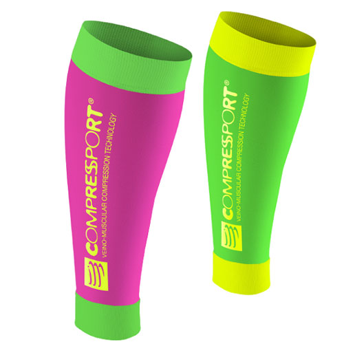 COMPRESSPORT R2 CALF SLEEVES FLUO